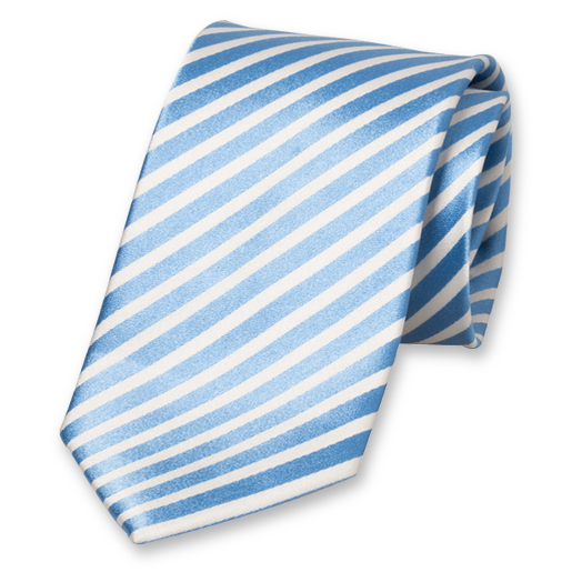 166eb4433724 Striped necktie in light blue and white. At Ties4him.co.uk!