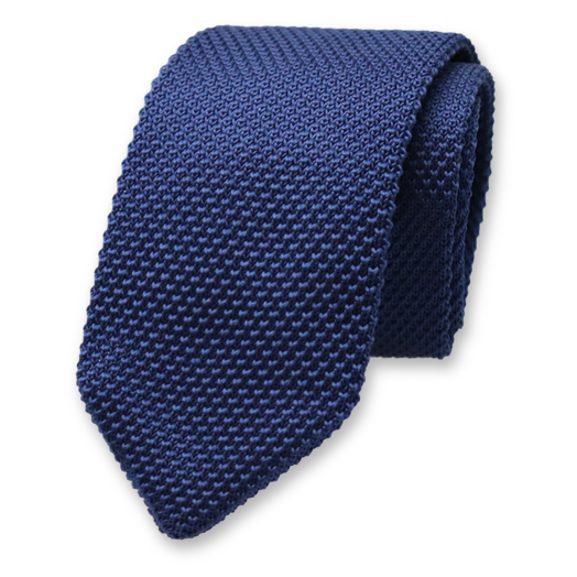 Knitted Necktie - Dark blue- Polyester (1)