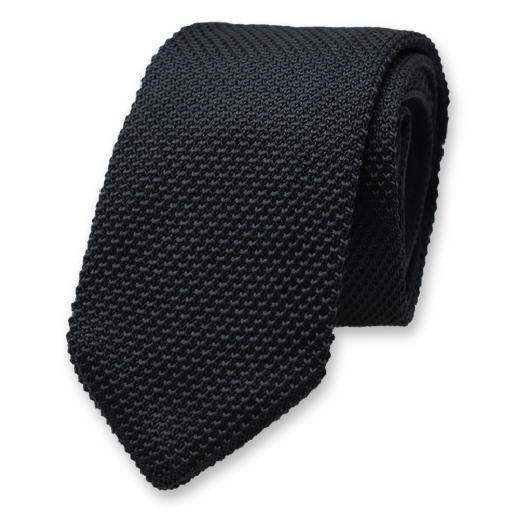 Knitted Necktie - Black - Polyester (1)