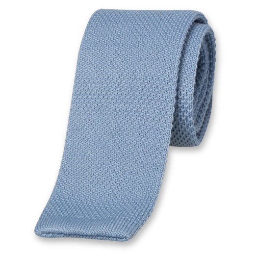 Light Blue Knitted Tie - Wool (1)