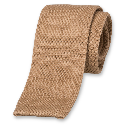 Camel Knitted Tie - Wool (1)