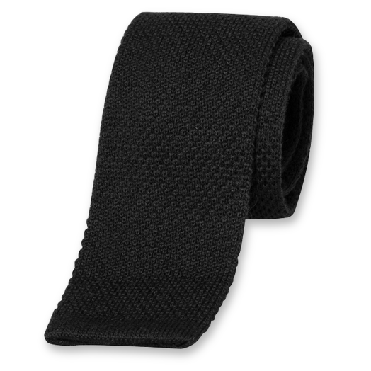 Black Knitted Tie - Wool (1)