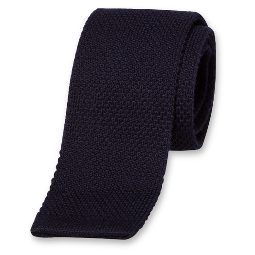 Dark Blue Knitted Tie - Wool (1)