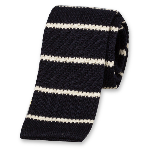Navy Striped Knitted Tie - Wool (1)