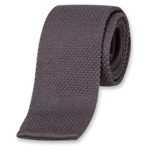 Anthracite Knitted Tie - Wool (1)