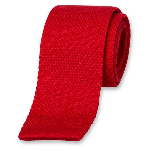 Red Knitted Tie - Wool (1)