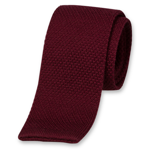 Burgundy Knitted Tie - Wool (1)