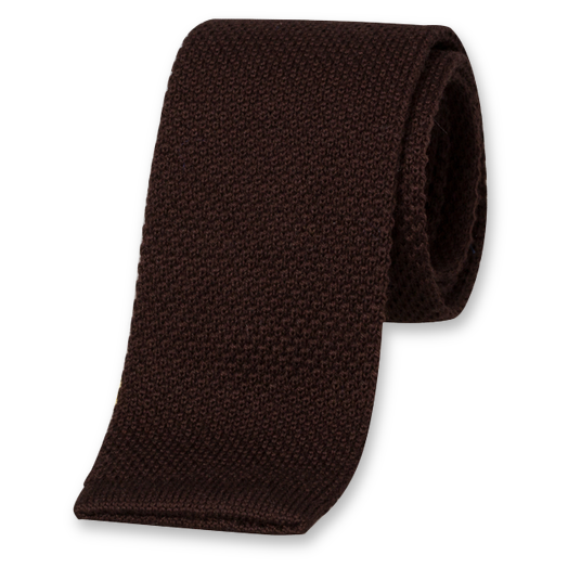 Brown Knitted Tie - Wool (1)