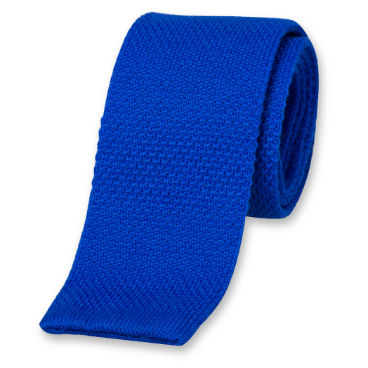 Blue Knitted Tie - Wool (1)