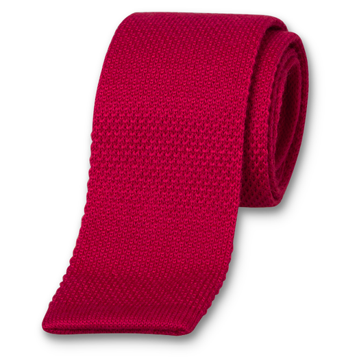 Fuchsia Knitted Tie - Wool (1)