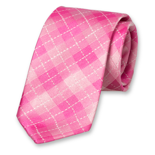 Pink Tie - Checkered - Silk (1)