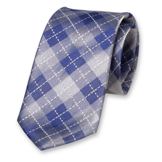 Dark Blue Tie - Checkered - Silk (1)