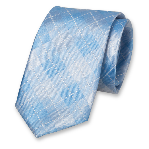 Light Blue Tie - Checkered - Silk (1)