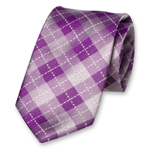 Purple Tie - Checkered - Silk (1)