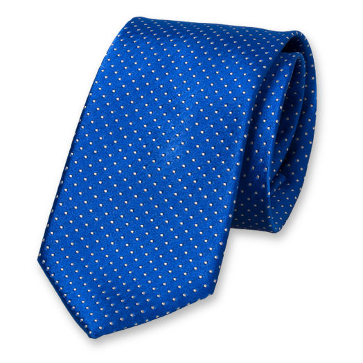 Royal blue tie - white dots (1)