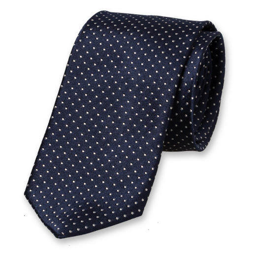 Navy Tie - White Dots - Silk (1)