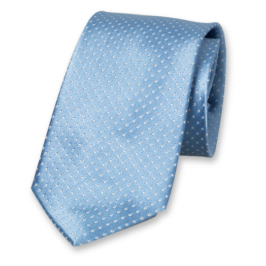Light Blue Tie - White Dots - Silk (1)