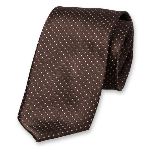 Brown Tie - White Dots - Silk (1)