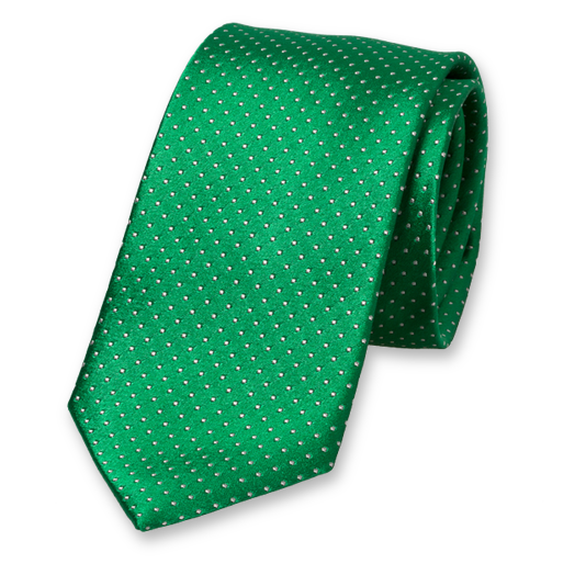 Green Tie - White Dots - Silk (1)