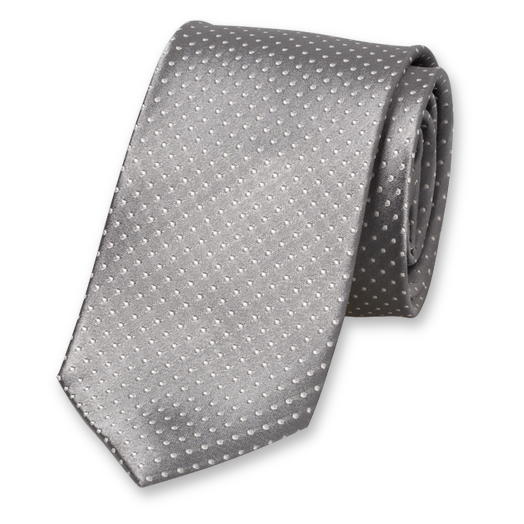 Grey Tie - White Dots - Silk (1)