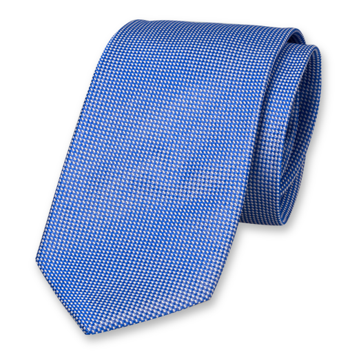 Royal Blue Tie - Block Pattern - Silk (1)