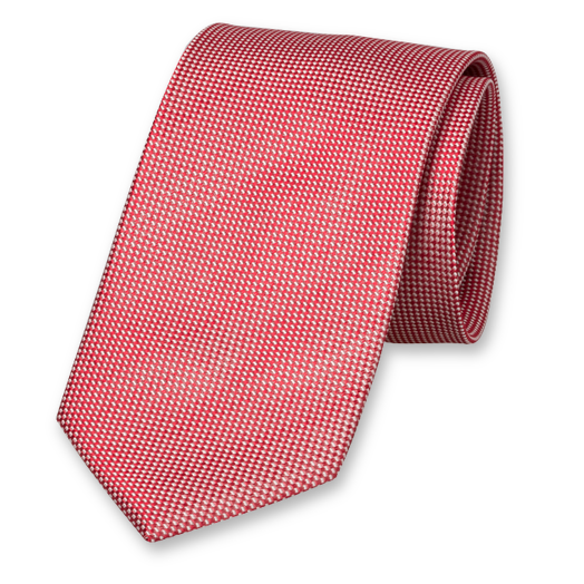 Red Tie - Block Pattern - Silk (1)