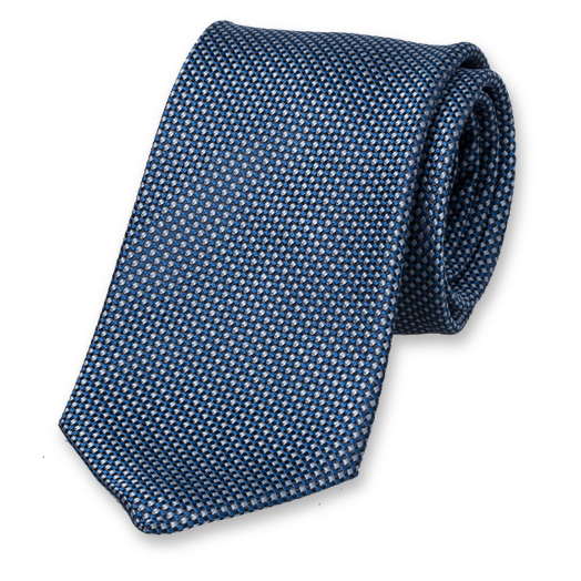 Blue Tie - Block Pattern - Silk (1)
