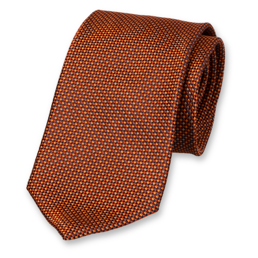 Copper Tie - Block Pattern - Silk (1)