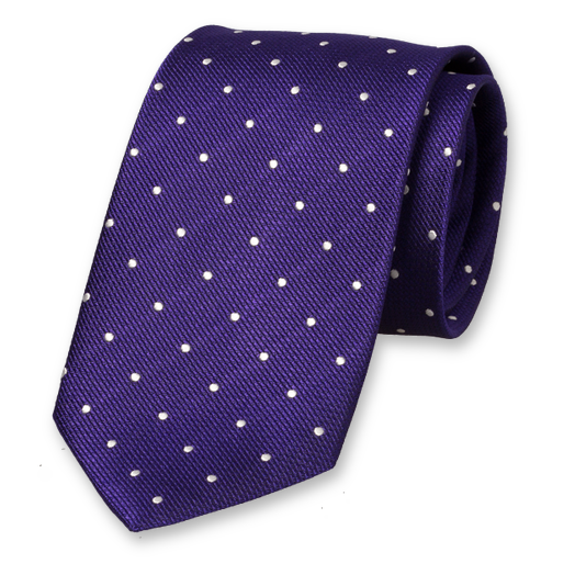 Purple Tie with White Dots - Silk (1)
