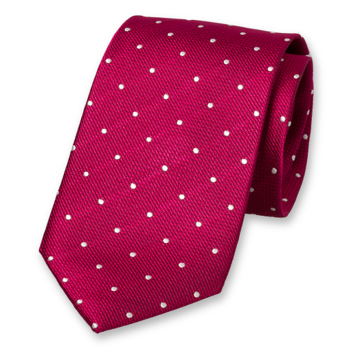 Fuchsia Tie with White Dots - Silk (1)