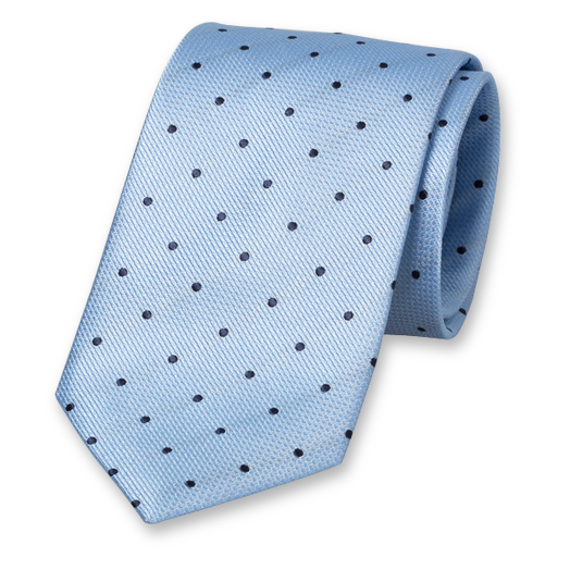 Blue Tie with Navy Dots - Silk (1)