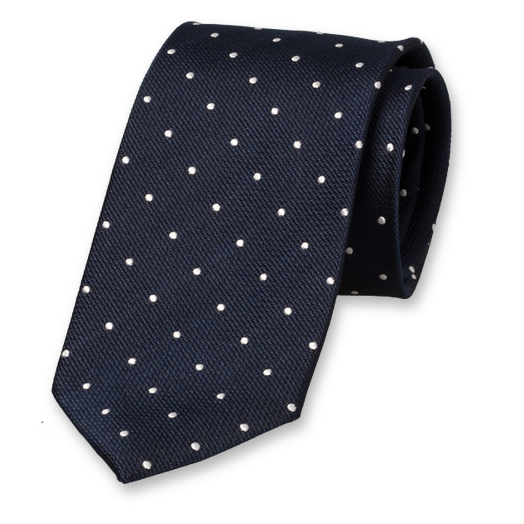 Navy Tie with White Dots - Silk (1)