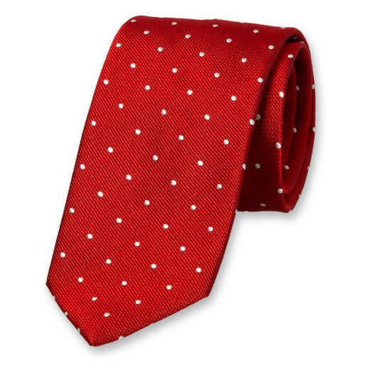 Red Tie with White Dots - Silk (1)