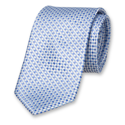 Blue Tie - Checkered - Silk (1)