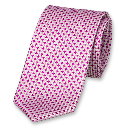 Bright Pink Tie - Checkered - Silk (1)