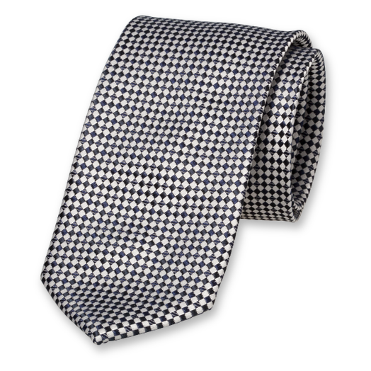 Navy Tie - Checkered - Silk (1)