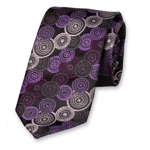 Black Purple Tie - Silk (1)