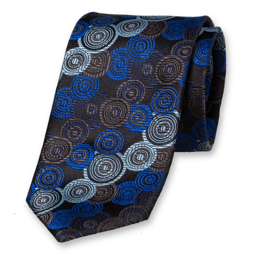 Black Bright Blue Tie - Silk (1)