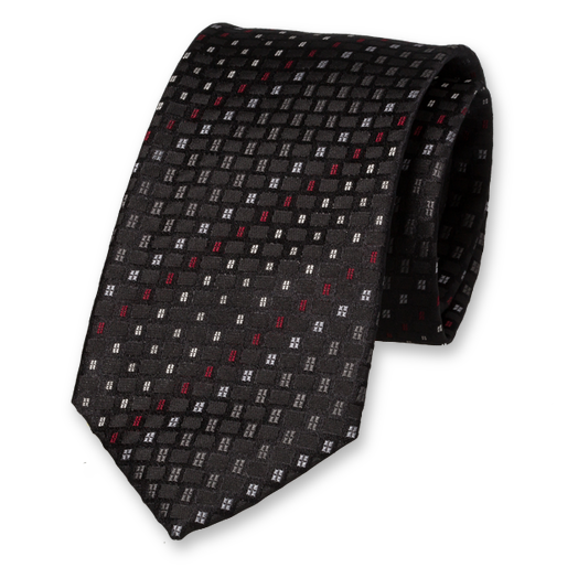 Black Red Grey Tie - Silk (1)