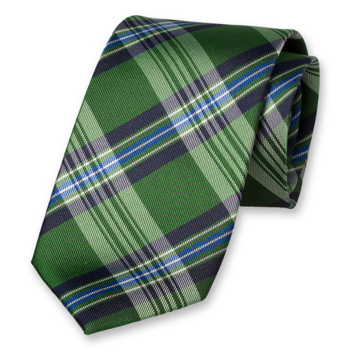 Dark Green Tie - Diamond Pattern - Silk (1)
