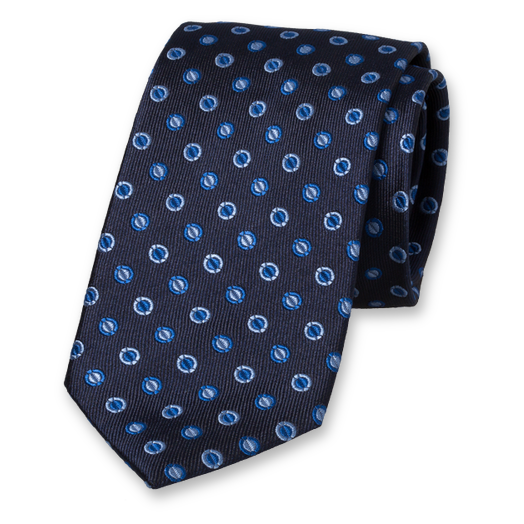 Dark blue tie - circles (1)
