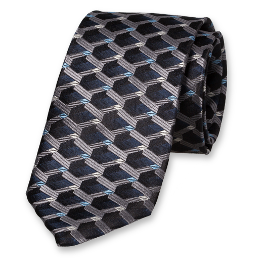 Black Blue Tie - 3D Pattern - Silk (1)