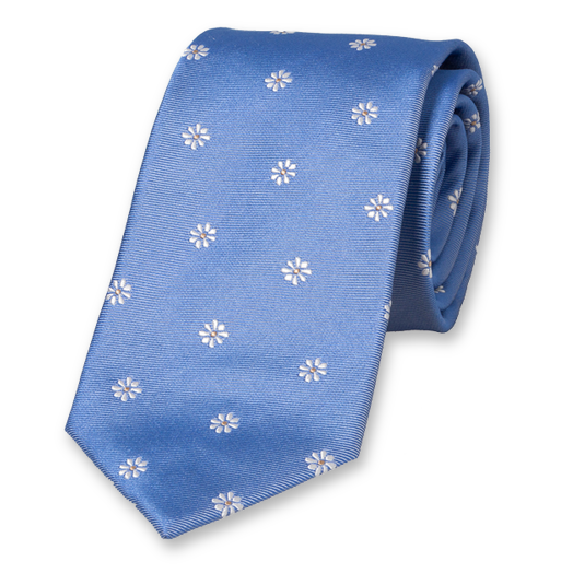 Light Blue Tie with Flowers - Silk (1)