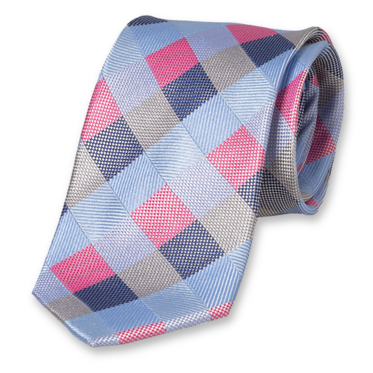 Diamond Pattern Tie - Blue-Pink - Silk (1)