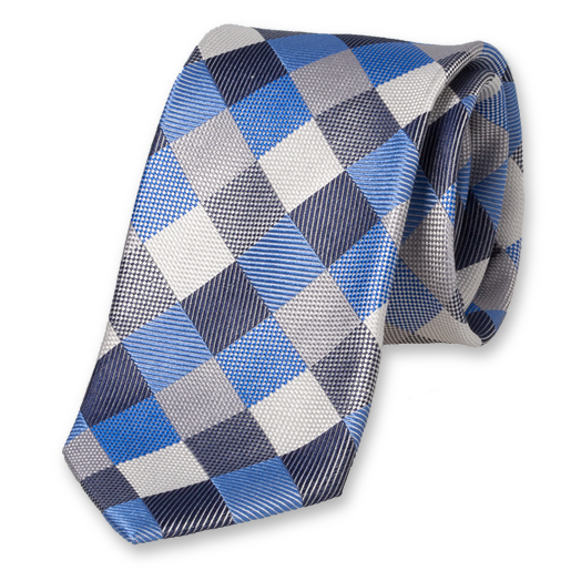 Diamond Pattern Tie - Blue-Grey - Silk (1)
