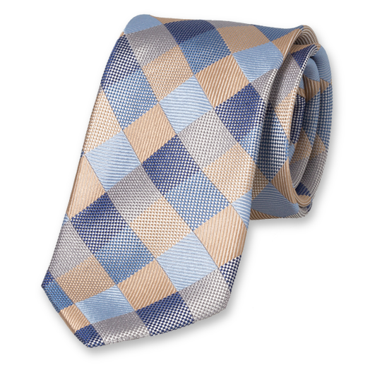 Diamond Pattern Tie - Blue-Beige - Silk (1)