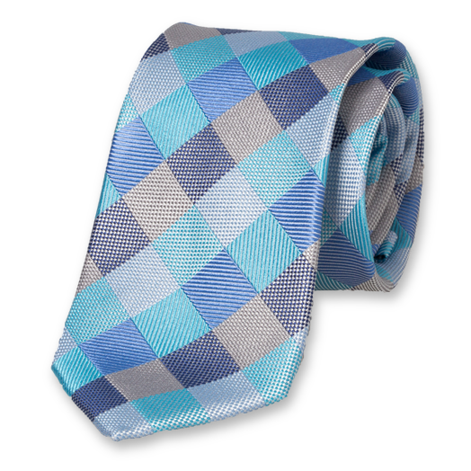 Diamond Pattern Tie - Blue-Aqua - Silk (1)