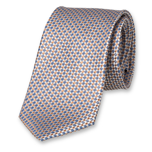 Beige/blue necktie with motiv (1)