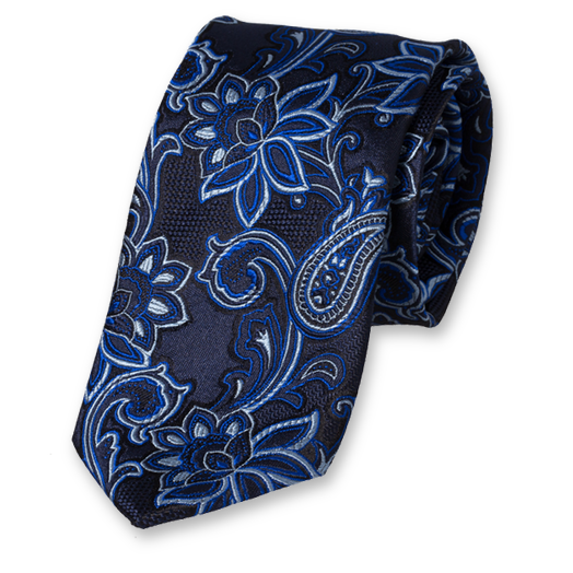 Dark Blue tie with Flowers - Silk (1)