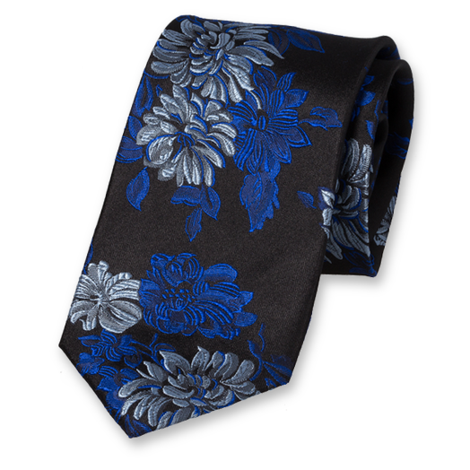 Black Tie with Blue Flowers - Silk (1)